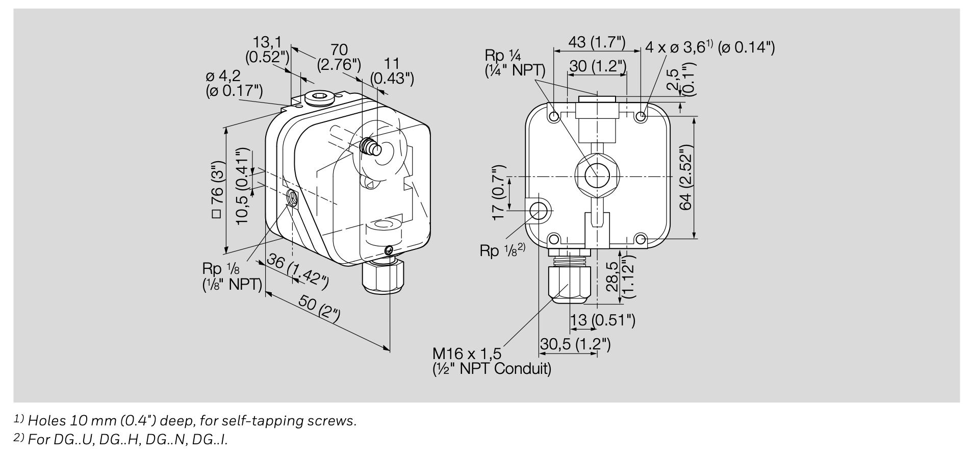KROM Pressure Switch dimension